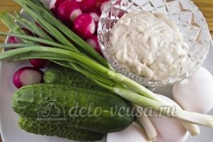 Салат из редиски с яйцом и огурцом: Ингредиенты