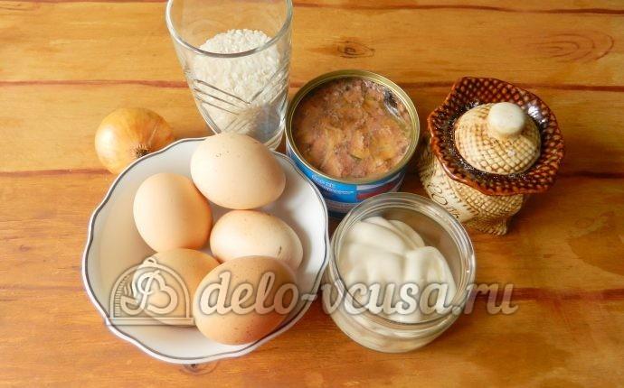 Салат с рисом и рыбными консервами: Ингредиенты
