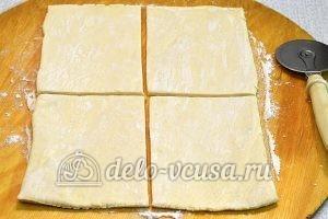 Слойки с мясом: Раскатать тесто