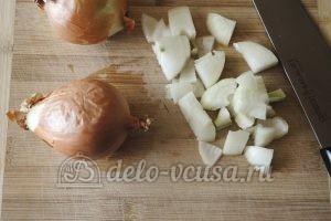 Стручковая фасоль с овощами: Репчатый лук порезать