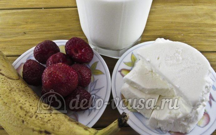 Молочный коктейль с клубникой, бананом и мороженым: Ингредиенты
