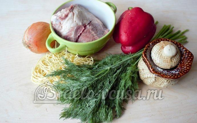 Суп-лапша с мясом: Ингредиенты