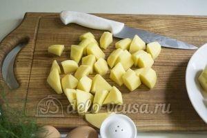 Оладьи из картофельного пюре: Порезать картошку