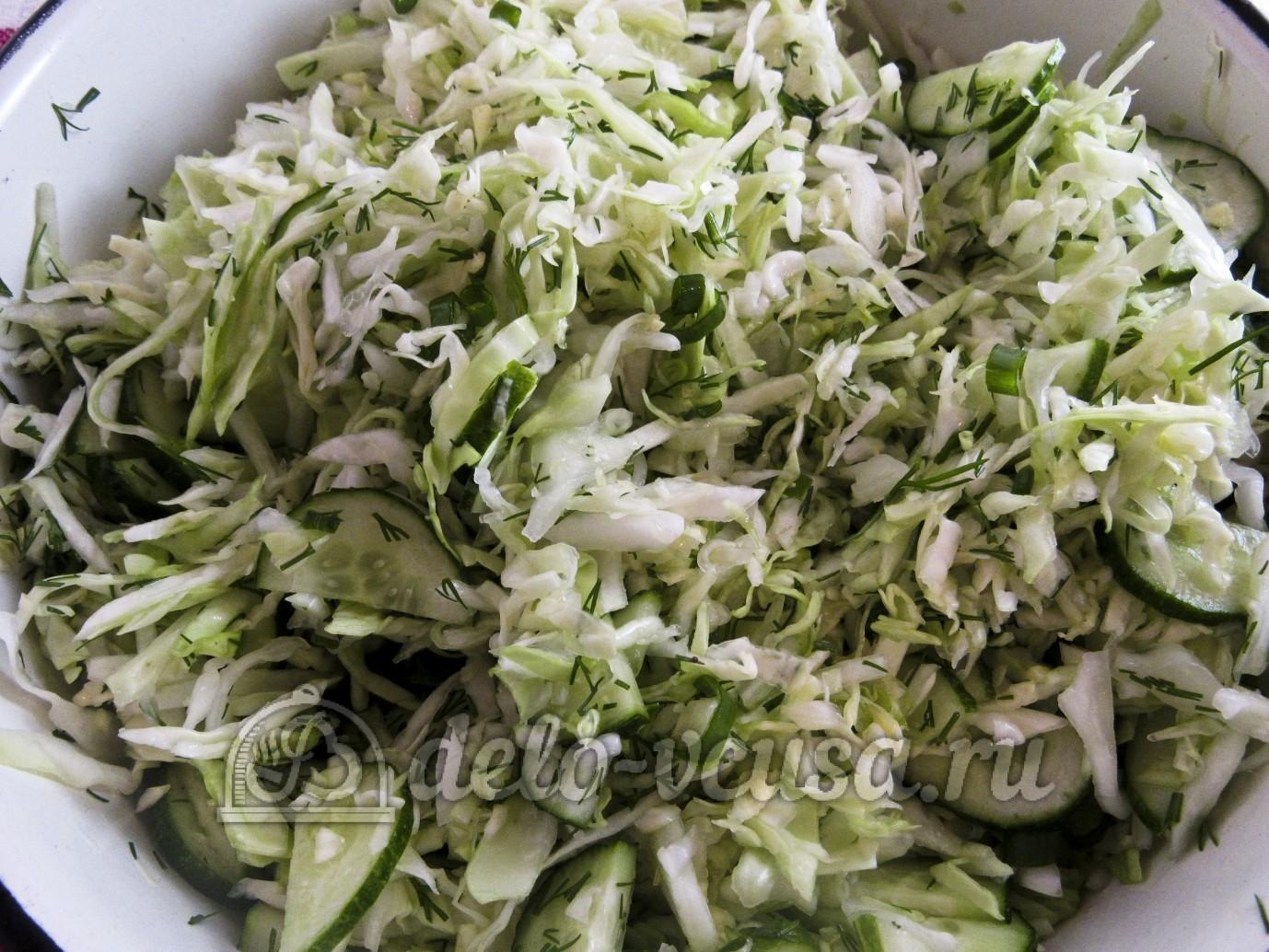 Салат из капусты и огурцов с уксусом: Все перемешать
