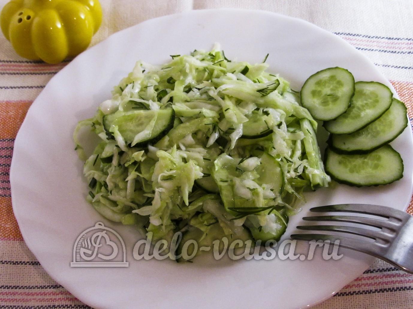 Салат из капусты и огурцов с уксусом