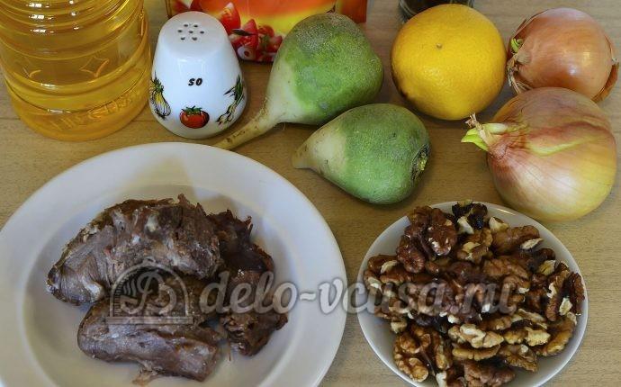 Салат из редьки с говядиной: Ингредиенты
