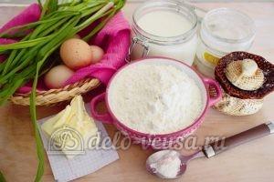 Заливной пирог с зеленым луком и яйцом: Ингредиенты