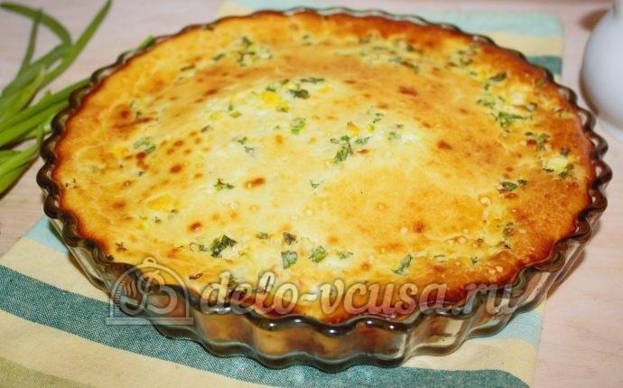 Заливной пирог с рыбой и луком