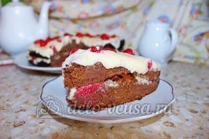 Шоколадный торт с малиной