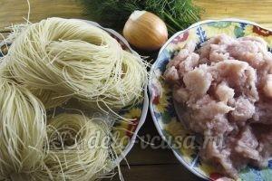 Гнезда из макарон с курицей: Ингредиенты