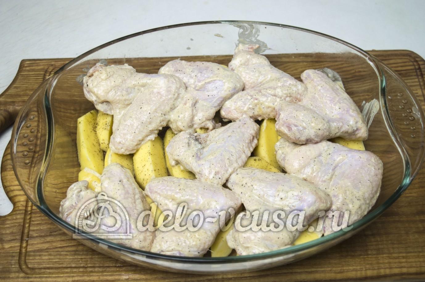 картошка с крылышками в духовке пошаговый рецепт