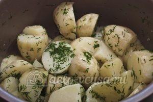 Молодая картошка в мультиварке: Хорошо перемешать картошку с зеленью