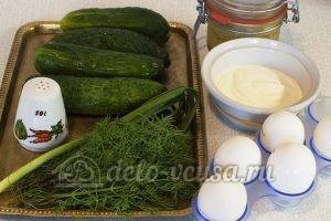 Салат из огурцов, яиц и зелени: Ингредиенты