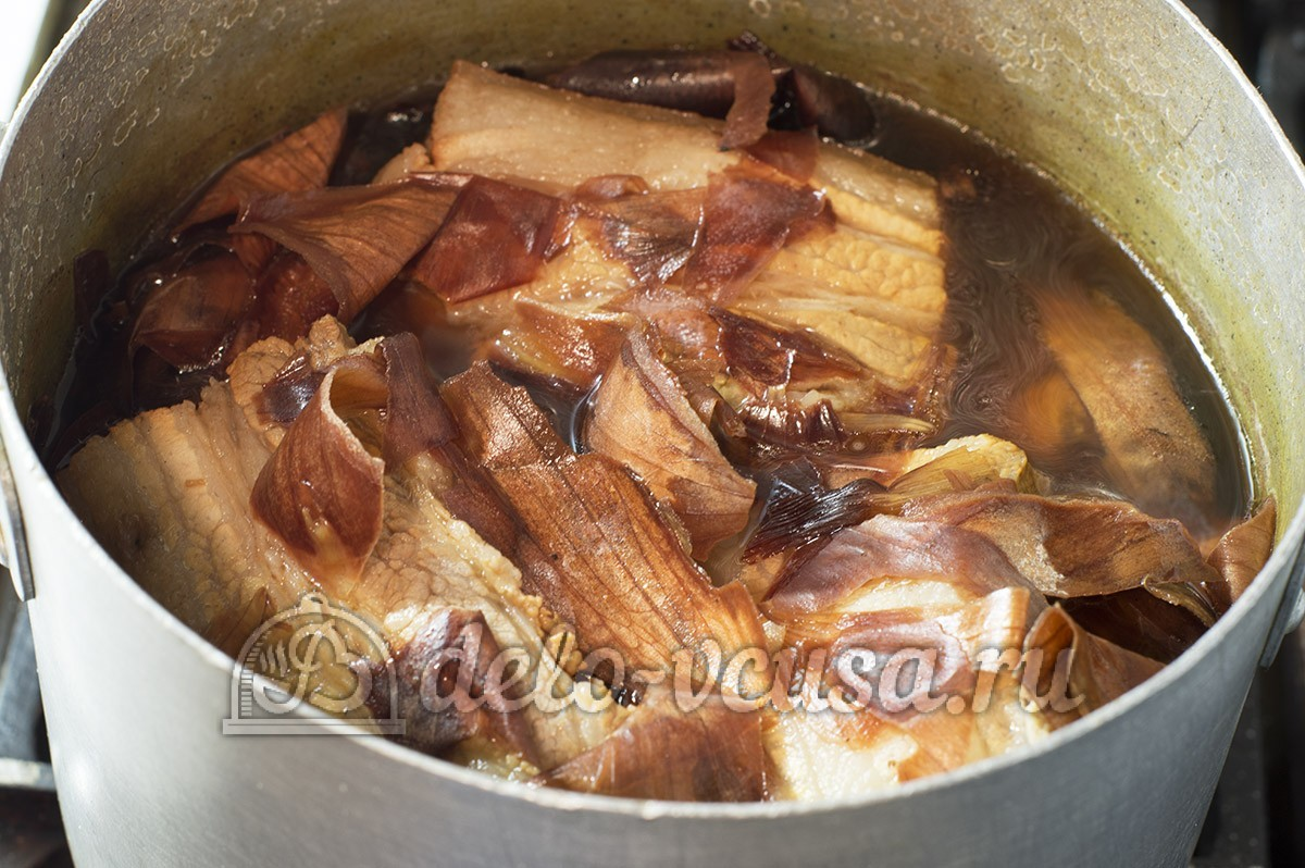 как приготовить сало в луковой шелухе поэтапно