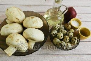 Фаршированные шампиньоны с перепелиными яйцами: Ингредиенты