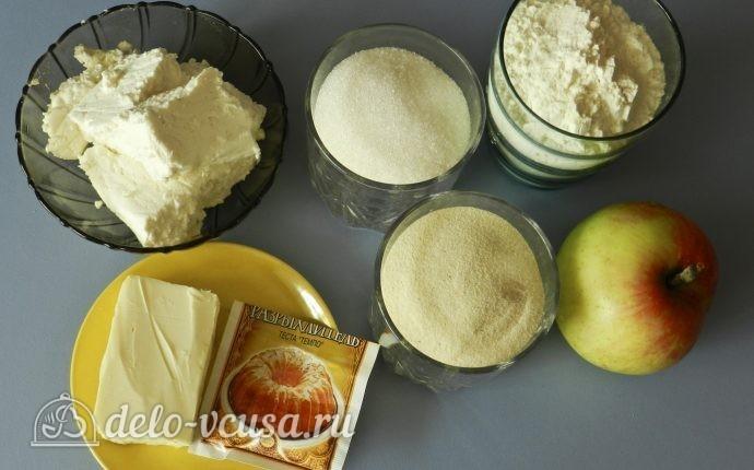Насыпной пирог с яблоками и творогом: Ингредиенты
