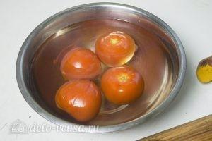 Плов с говядиной и помидорами: Помидоры окунуть в ледяную воду