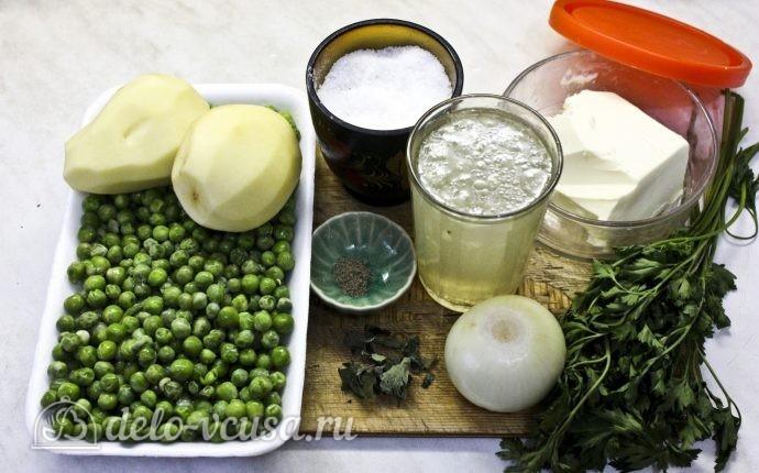 Суп-пюре из зеленого горошка: Ингредиенты