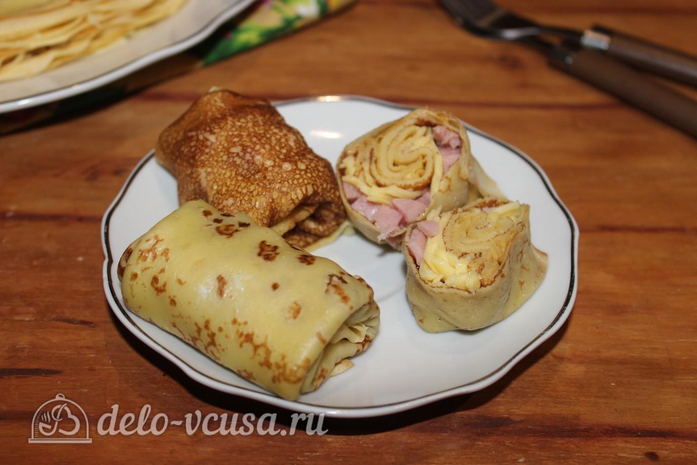 Рецепт блины с ветчиной и сыром