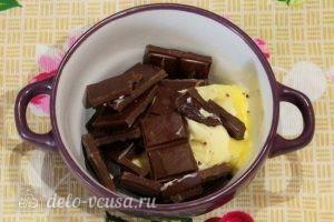 Брауни с творогом и вишней: Шоколад и масло поместить в миску