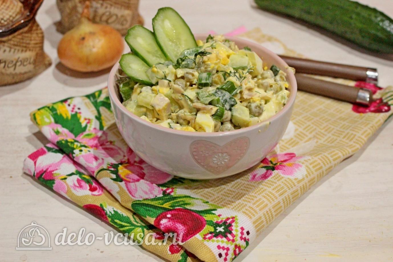 рецепт салата с горошком огурцом