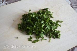 Овощной суп с зеленым горошком: Измельчить зелень