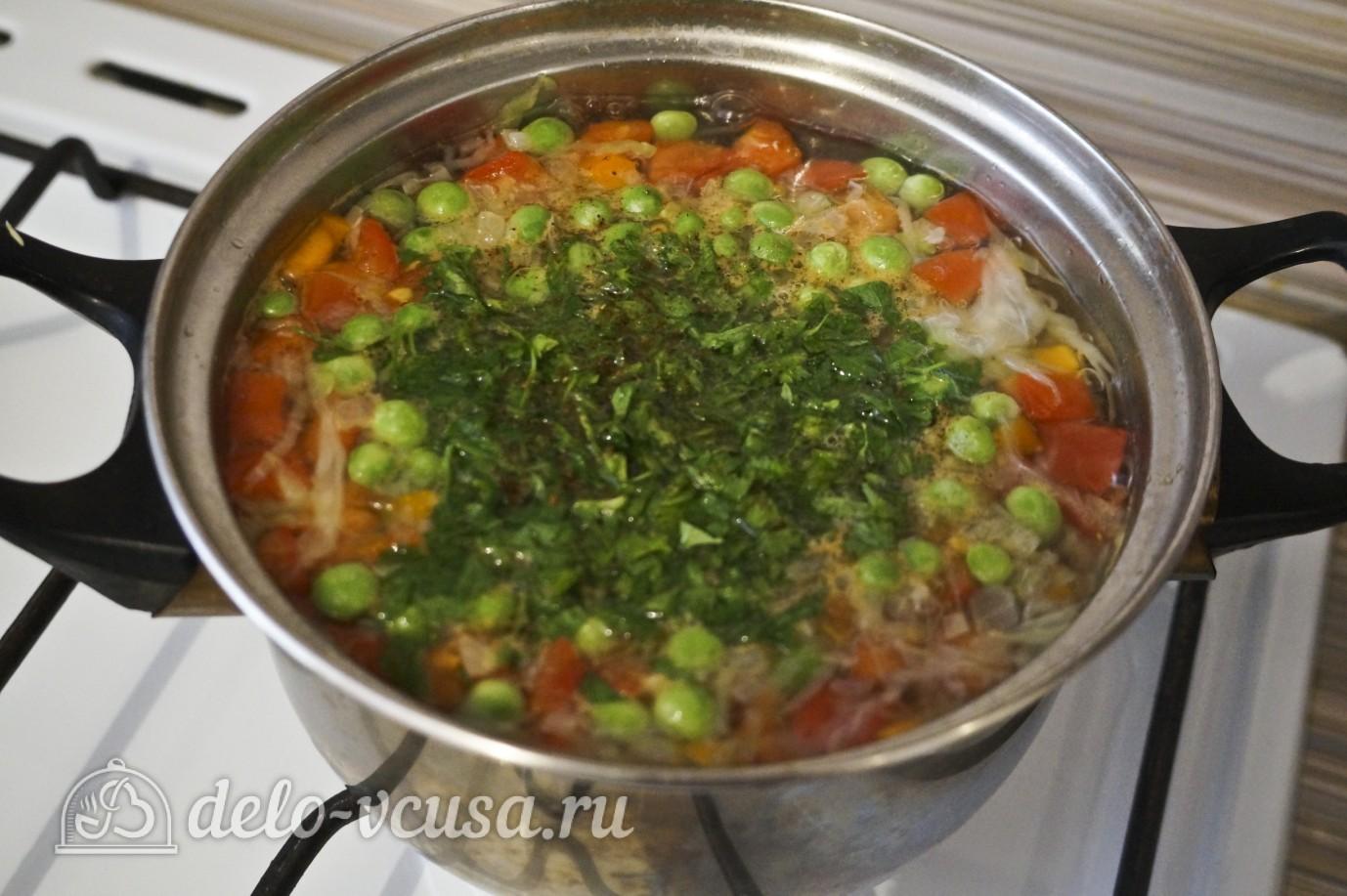 Овощной суп с зеленым горошком: Добавить зелень