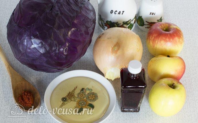 Тушеная краснокочанная капуста: Ингредиенты