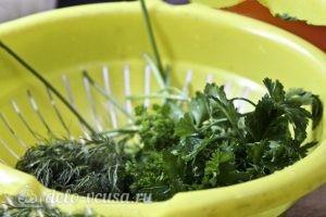 Блины с творогом и зеленью: Помыть зелень