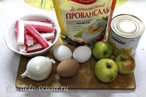 Крабовый салат с яблоком: Ингредиенты