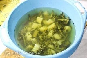 Крем-суп из брокколи: Переливаем бульон
