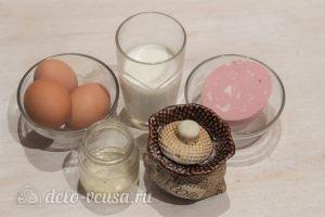Омлет с колбасой на сковороде: Ингредиенты