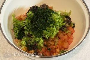 Овощной салат с оливковым маслом: Измельчить укроп