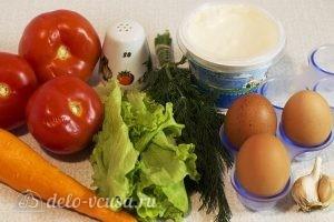 Салат с яичными блинами: Ингредиенты