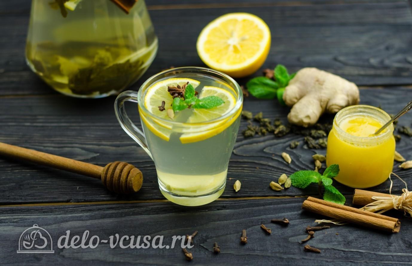 корица с зеленым чаем и имбирем