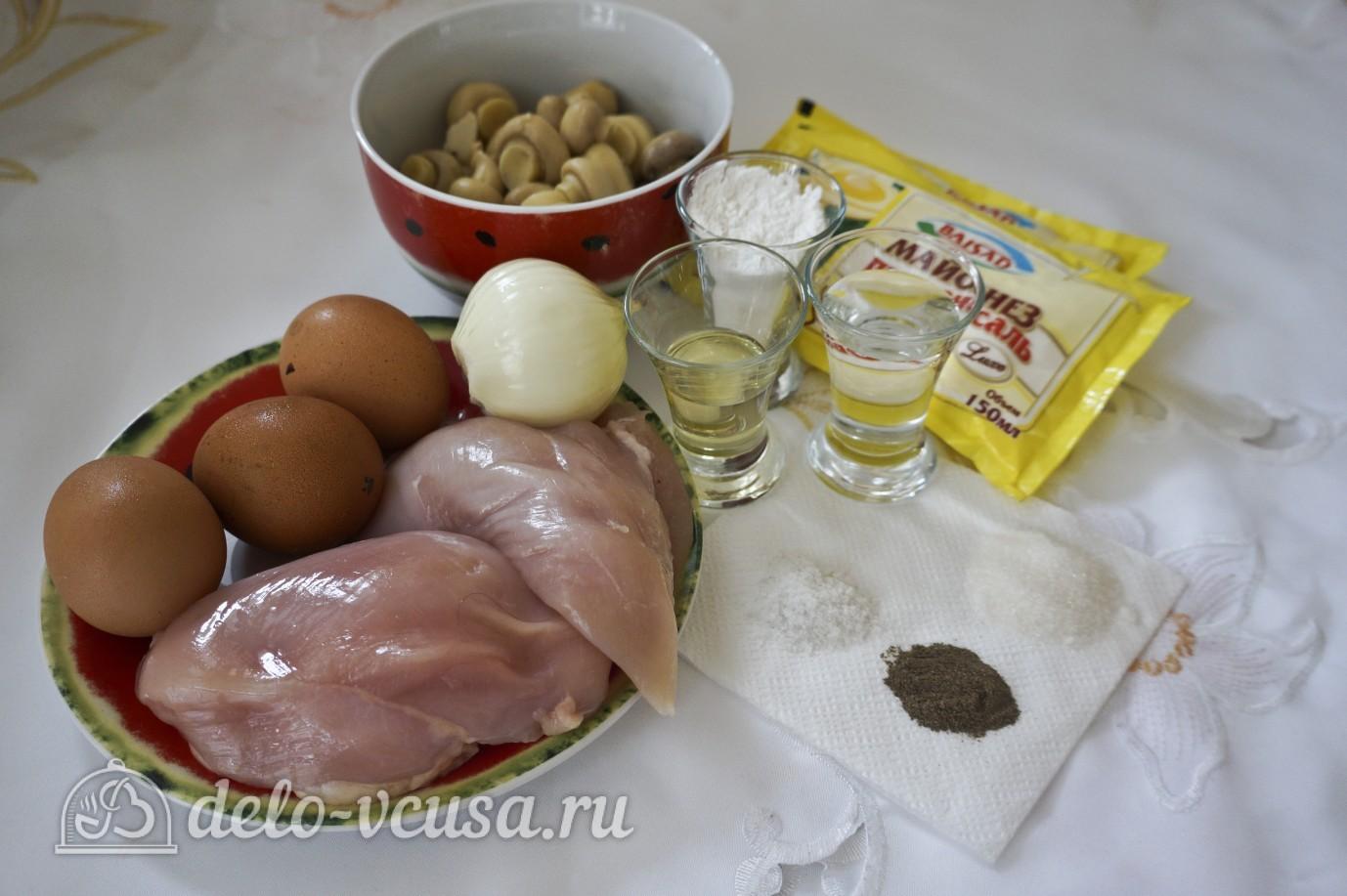 Салат с блинами и грибами: Ингредиенты
