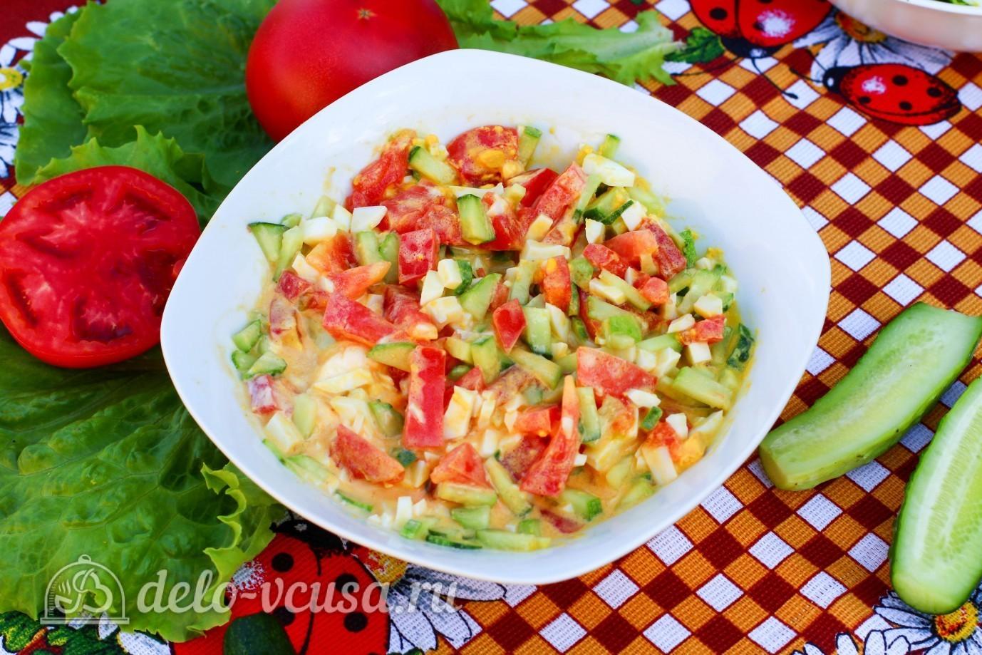 рецепт салата с яиц и помидоров