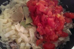 Бигус с курицей: Помидоры можно заменить томатным соком