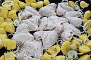 Куриные крылья с картофелем: Выкладываем все на противень