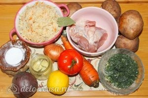 Борщ с квашеной капустой: Ингредиенты