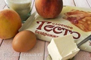 Пирог из слоеного теста с персиками: Ингредиенты