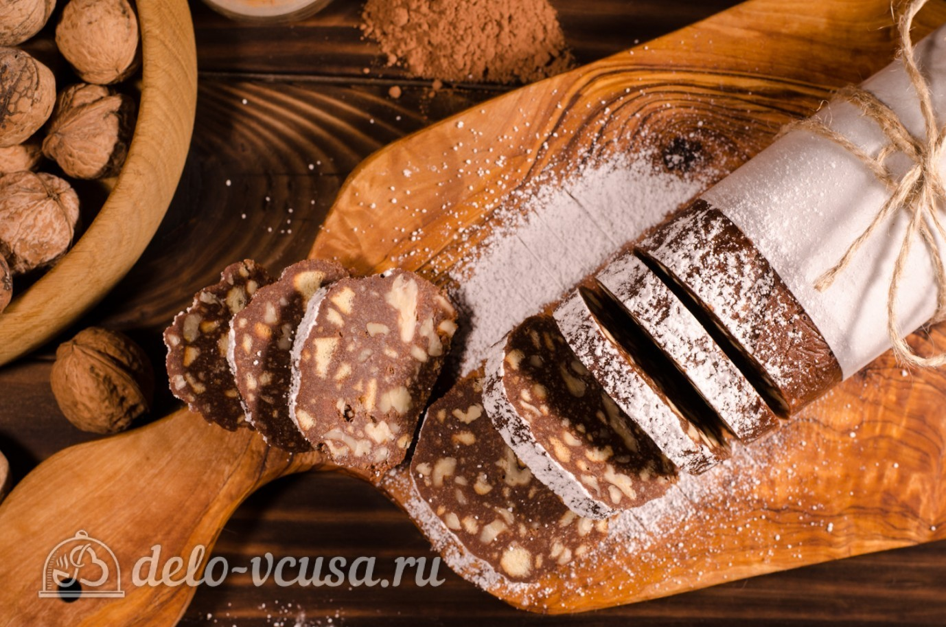 колбаска из печенья и какао классический рецепт