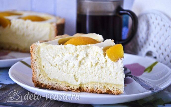 Творожный пирог с персиками с выпечкой — 10