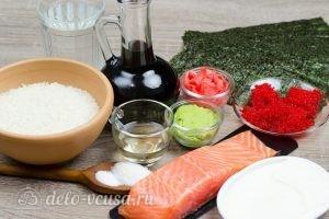 Масаго ролл с лососем и сыром: Ингредиенты
