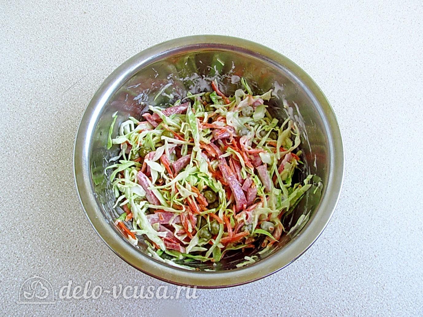 рецепт салата с морковкой и с колбасой