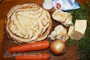 Блины с курицей и морковкой: Ингредиенты