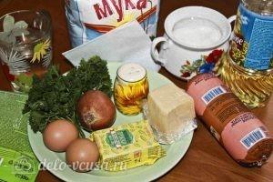 Дрожжевые пирожки с колбасой и сыром: Ингредиенты