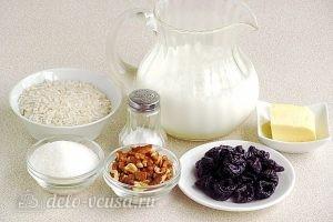 Рисовая каша с черносливом и орехами в мультиварке: Ингредиенты
