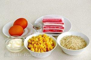 Крабовый салат с рисом и кукурузой: Ингредиенты
