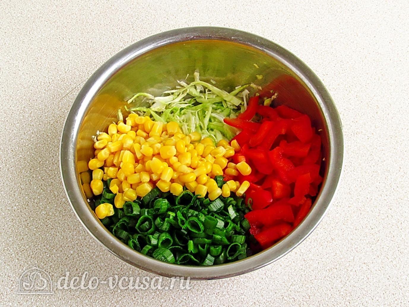 салат из кукурузы огурца и капусты